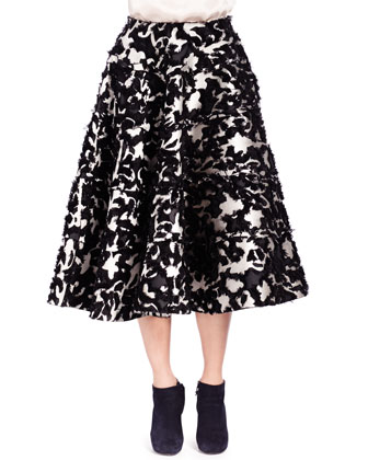 Floral Fil Coup?? Seamed Tiered Skirt