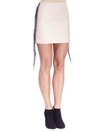 Fringe/Bead-Trim Long-Sleeve Sweatshirt & Slim Skirt