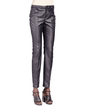 Ostrich-Trim Jewel-Neck Jacket & Faux Leather Jeans