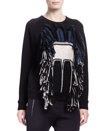 Tribal Abstract Face Sweatshirt, Multicolor