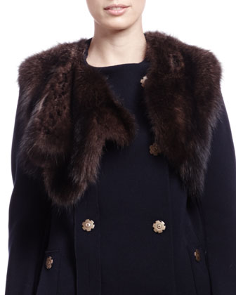 Mink Fur Cropped Vest, Dark Brown