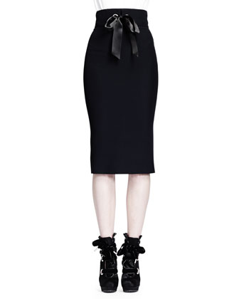 Puffed Sleeve Blouse w/ Ribbon Cuffs & Ribbon Grommet Pencil Skirt