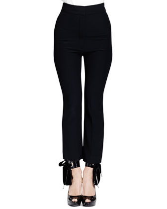 High-Waist Leaf Crepe Ankle Pants