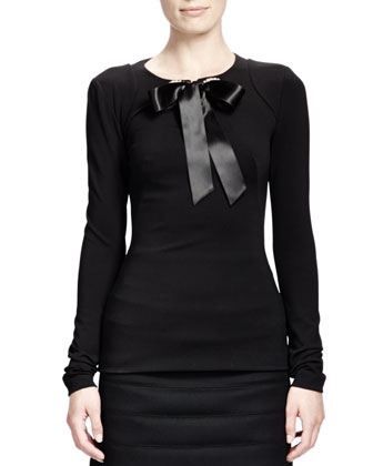 Rhinestone Grommet Top w/ Ribbon, Black