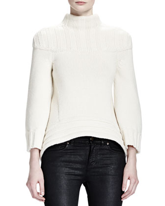 Wide Rib-Neck/Sleeve Sweater & Waxed Cotton Zipper Detail Jeans