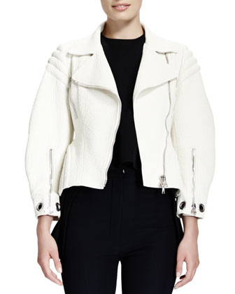 Soft-Grain Leather Zip Moto Jacket & Satin Cap-Sleeve High-Low Top