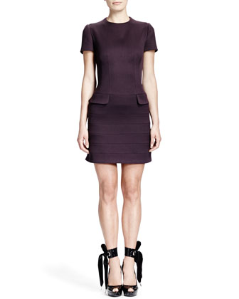 Short-Sleeve Flap-Pocket Seamed Dress, Aubergine