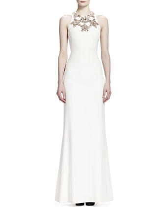 Sleeveless Star Bodice Gown, Vanilla