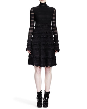 Sheer Patchwork-Lace Stripe Dress