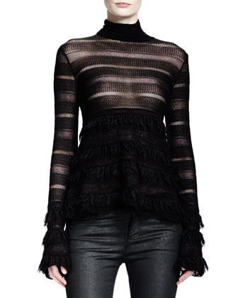 Long-Sleeve Lace-Stripe Patchwork Turtleneck, Black