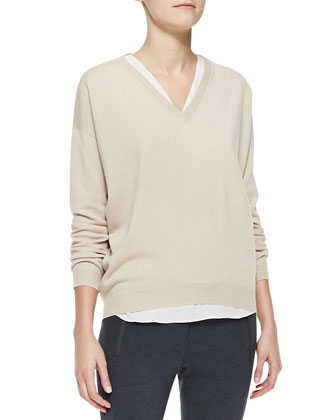 Wide V-Neck Banded-Bottom Boyfriend Cashmere Sweater