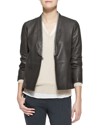Metallic-Edged Leather Jacket, Wide V-Neck Banded-Bottom Boyfriend Cashmere ...