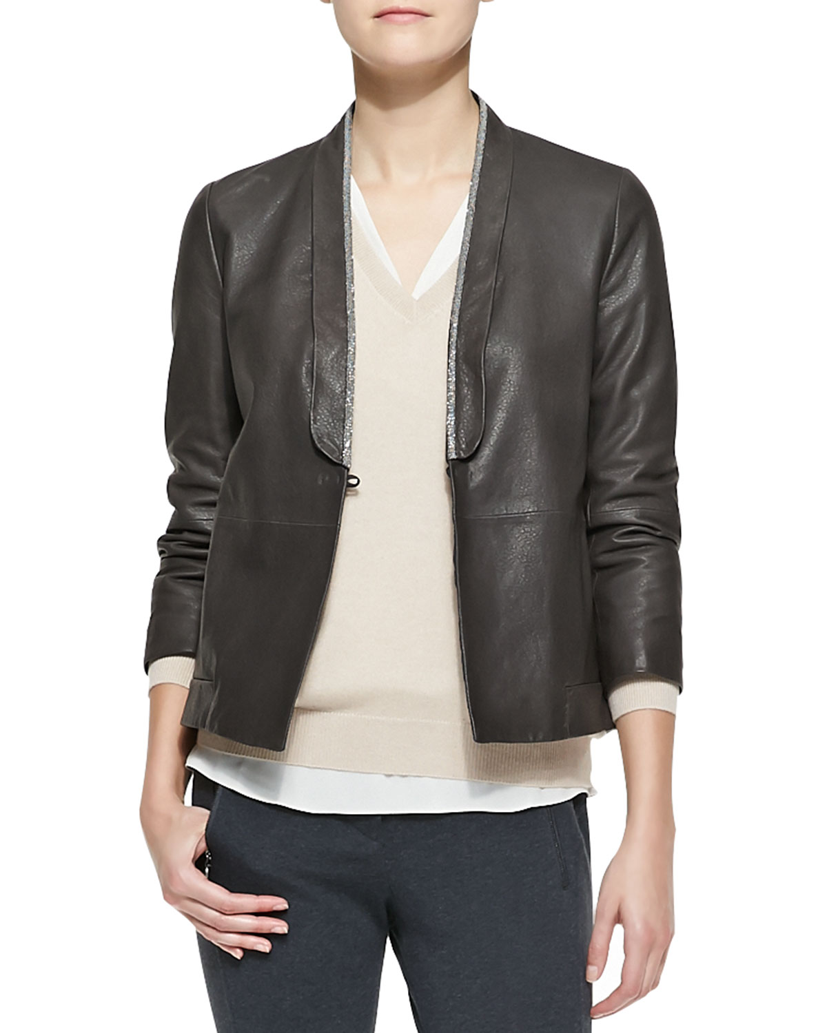 Womens Metallic Edged Leather Jacket   Brunello Cucinelli   Forest (40/4)