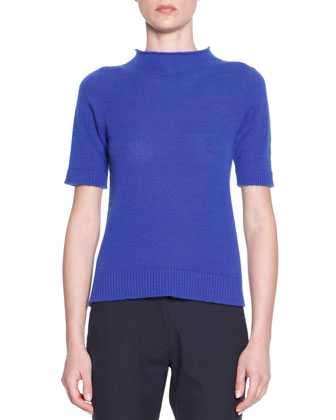 Short-Sleeve Cashmere Knit Tee