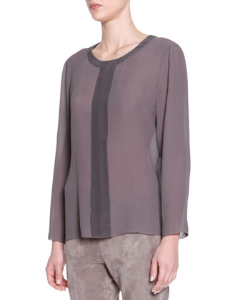 Long-Sleeve Center-Placket Silk Tunic