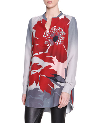 Long Floral Viscose Tunic
