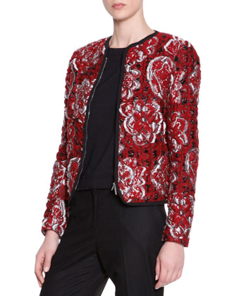 Matelasse Floral Textured Cardigan Jacket, Short-Sleeve Knit Tee & Wide-Leg ...