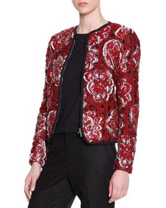 Matelasse Floral Textured Cardigan Jacket, Short-Sleeve Knit Tee & Wide-Leg ...