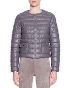 Lambskin Leather Puffer Jacket