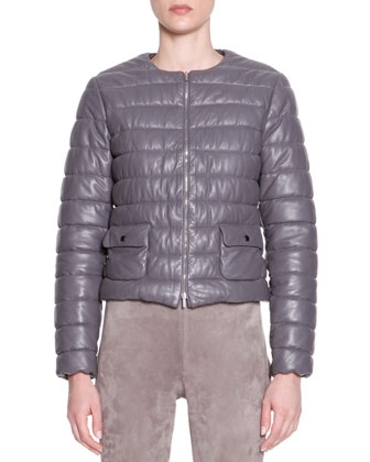 Lambskin Leather Puffer Jacket