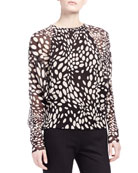 Long-Sleeve Shadow Spot Blouse
