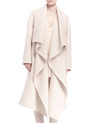 Long Ruffle-Front Drape Coat