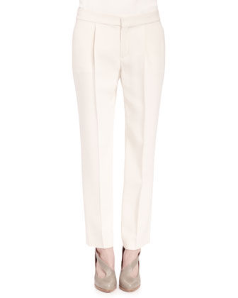 Pleated Crepe Sable Pants