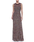 Sleeveless Confetti-Beaded Gown, Mulberry