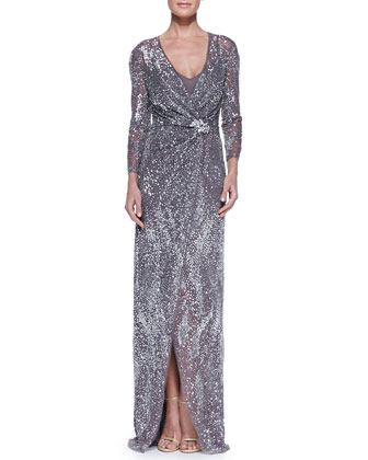 Beaded Three-Quarter Sleeve Gown with Wrap Front