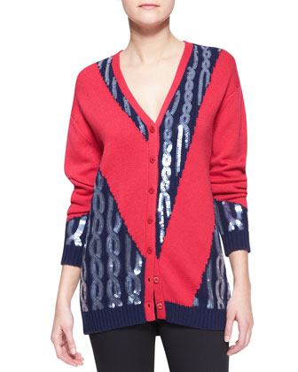 Knit Sequined-Cable Cardigan