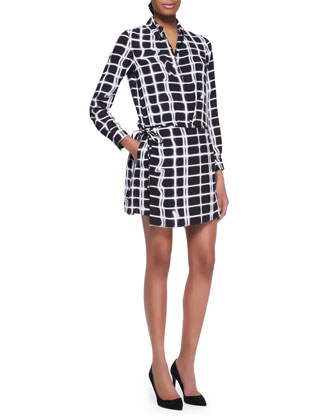 Grid-Print Wrap Shirtdress