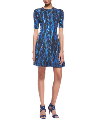 Distortion-Print A-Line Dress