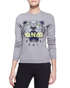 Embroidered Tiger Sweatshirt, Stone Gray