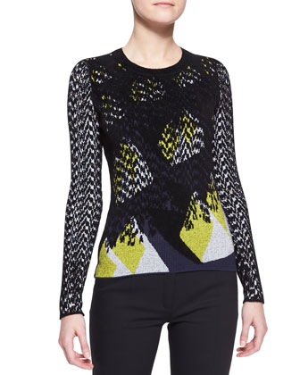 Intarsia Knit Velvet Sweater