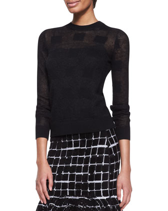 Square Knit Crewneck Sweater and Square-Print Flare-Hem Skirt