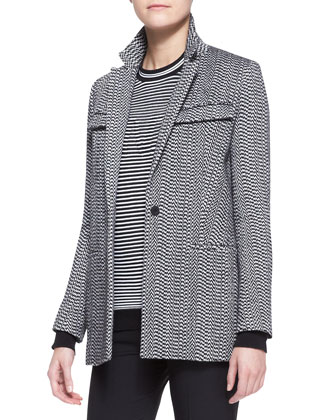 White Noise Oversized Blazer, Striped Crewneck Top & Cropped Straight-Leg ...