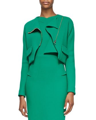 Sesia Wool Crepe Sheath Dress and Luciola Cropped Crepe Moto Jacket