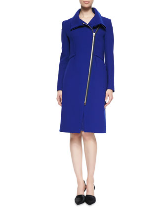 Drymus Long Coat & Nepa Cap-Sleeve Asymmetric Draped Dress