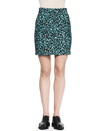 Printed Flocked Mini Skirt, Aqua/Black