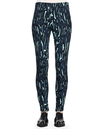 Printed Flocked Slim Pants