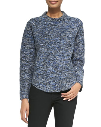 Speckled Wool-Blend Sweater, Blue/Gray