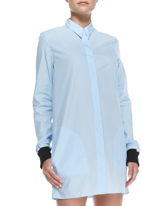Lyric Rib-Cuff Shirtdress, Pale Blue