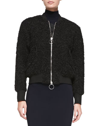 Tyson Zip-Front Boucle Jacket & Compact Sleeveless Turtleneck Dress
