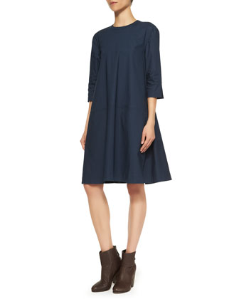 Pari 3/4-Sleeve A-Line Dress, Dark Navy