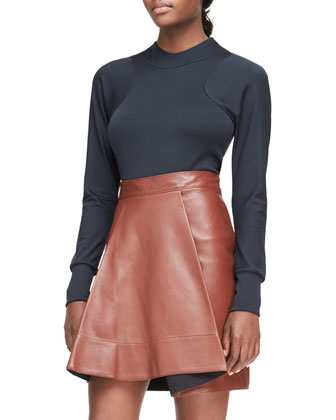 Shearling Denim-Style Jacket, Arc-Line Top & Leather Round-Fold Skirt