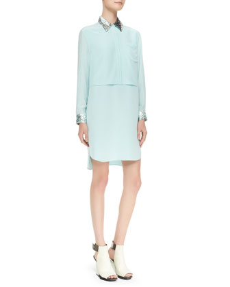 Double-Layered Sequin-Trim Shirtdress