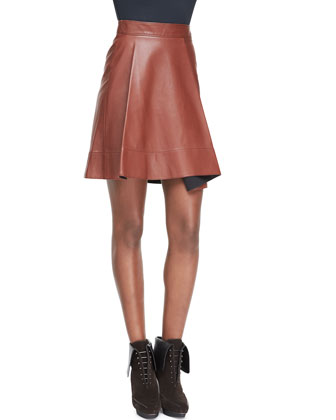 Leather Round-Fold Skirt