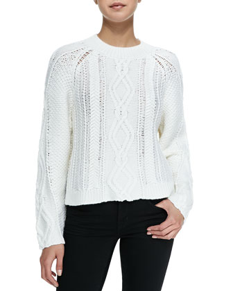 Mixed Cable Wool Pullover, Ivory