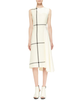 Sleeveless Shadow Grid Dress with Jersey Back, Ivory/Dark Chocolate