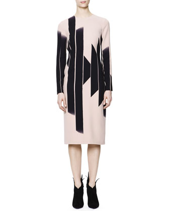Long-Sleeve Vertical Block Lines-Print Dress